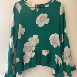 a.n.a Green floral bell sleeve top